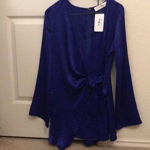 Dresses & Skirts - Royal blue asymmetrical tie-front romper